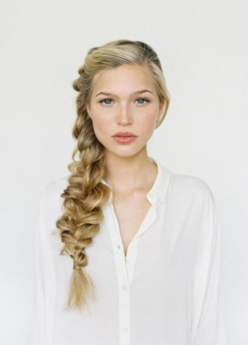 Girl with side braid and volume