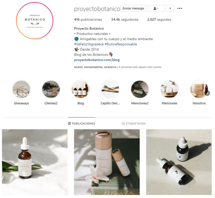Screen shot of the Instagram profile of Botanical Project