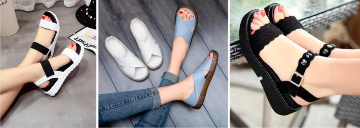 Different models of sandals