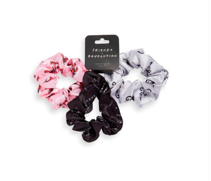 Hair scrunchies from the Reevolution makeup collection inspired by Friends