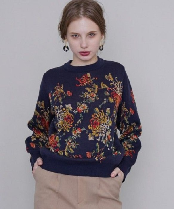 Navy Blue Autumn Colors Sweater with Flower Knit