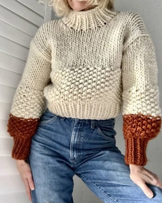 Autumn colors beige sweater with brick colored sleeves