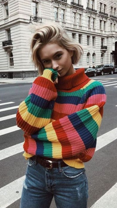 Autumn colors striped sweater of red, pink, blue, yellow and green