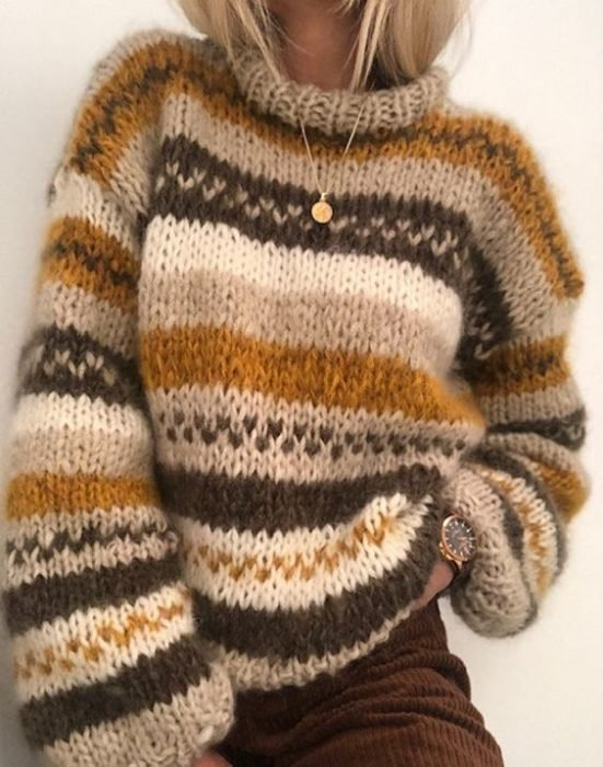 Autumn colors sweater like beige, coffee and camel