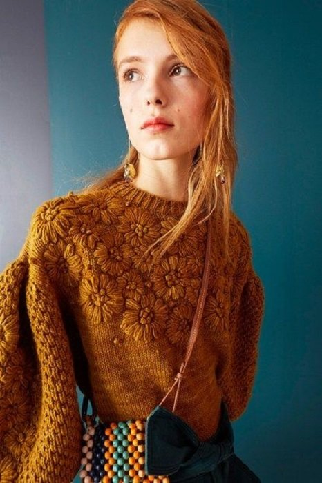 Mustard Fall Color Sweater with Embroidered Flower Details