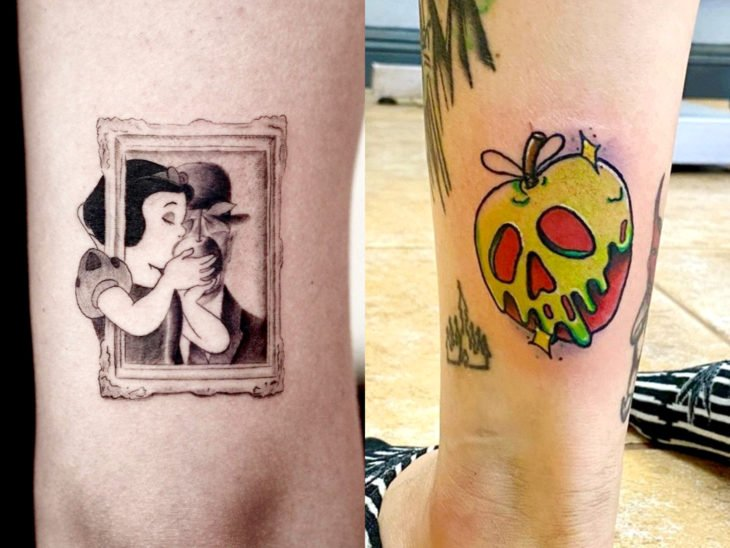 Tatuaje de Disney en el brazo, Blancanieves mordiendo la manzana