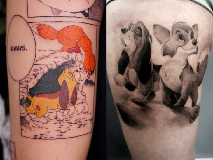 Disney tattoo on leg and arm, The fox and the hound