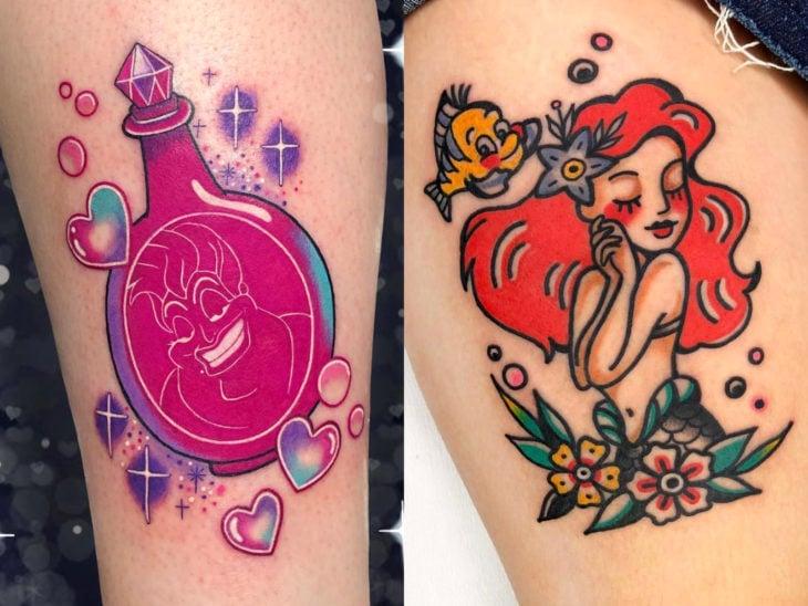 Tatuaje de Disney en la pierna, La Sirenita, Ariel, Úrsula