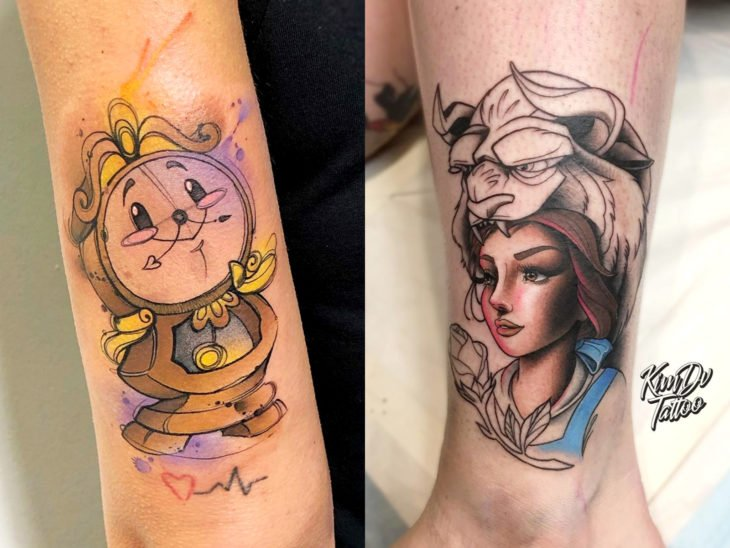 Disney tattoo on leg and arm, Sleeping beauty, Tic Toc clock