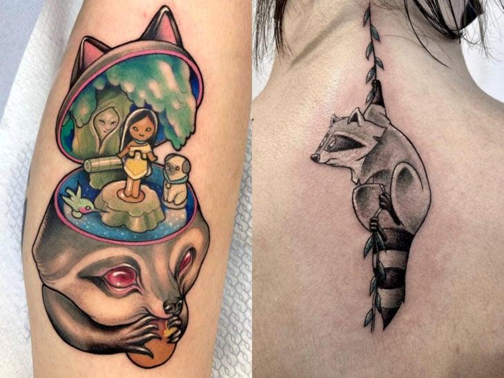 Tatuaje de Disney en la pierna y espalda, Pocahontas como Polly Pocket, Meeko mapache