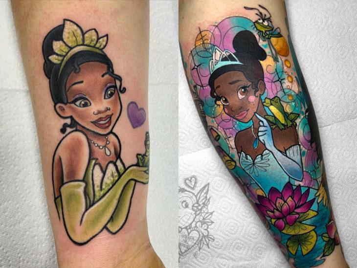 Tatuaje de Disney en el brazo, La princesa y el sapo, Tiana, rana Naveen