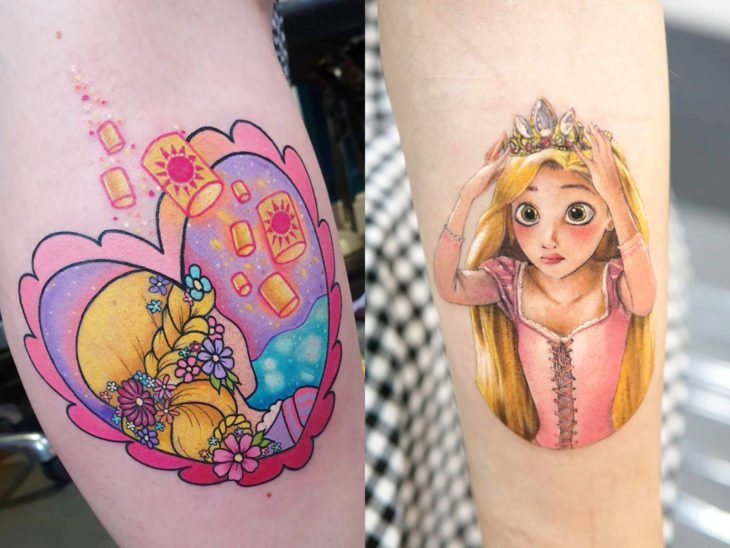 Disney tattoo on arm, Tangled, Rapunzel