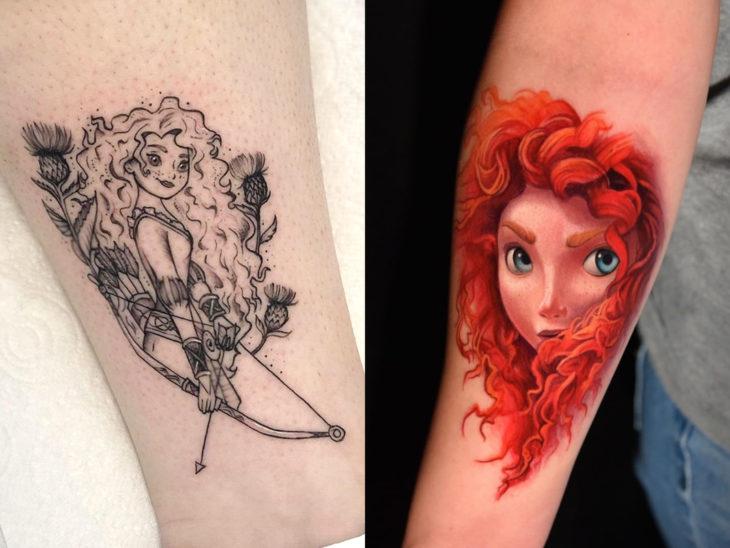 Tatuaje de Disney en el brazo, Valiente, Brave, Mérida