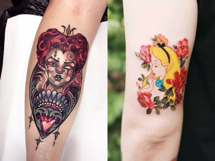 Disney tattoo on arm, Alice in Wonderland, Queen of hearts