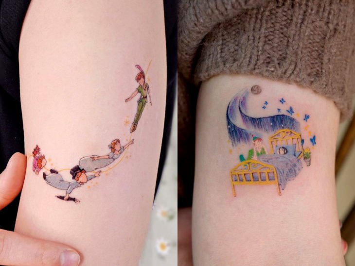 Disney tattoo on the arm, Peter Pan, Wendy and the children
