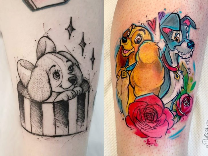 Disney tattoo on arm and leg, Lady and the tramp
