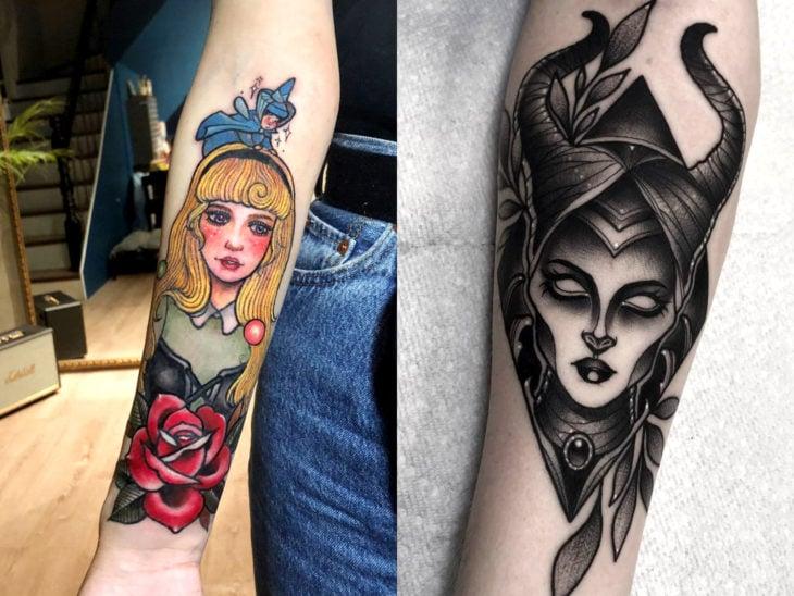 Tatuaje de Disney en el brazo, La bella durmiente, Aurora, Maléfica