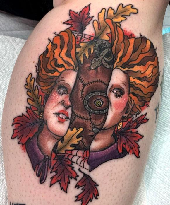 Tatuajes de la película de brujas Hocus Pocus; tatuaje de Winifred y el libro de hechizos