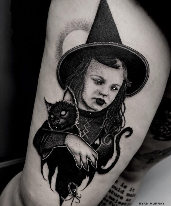 Tattoos from the witch movie Hocus Pocus; Little witch tattoo, Danni Dennison carrying black cat
