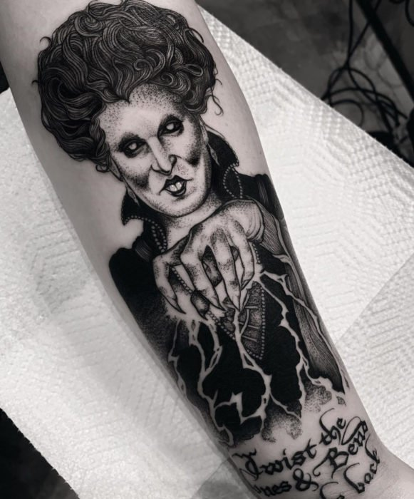 Tattoos from the witch movie Hocus Pocus; Winifred Sanders, Dark Witch Arm Tattoo
