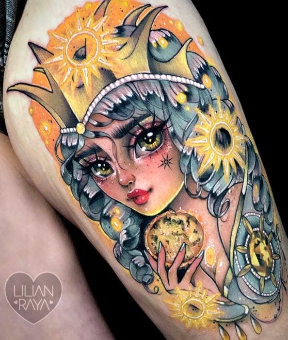 Tatuaje de Sakura Card Captor kawaii colorido en la pierna, Carta Clow The Sun, El sol, Lilian Raya