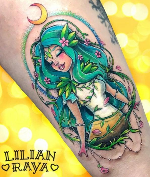 Colorful Sakura Card Captor tattoo on arm, Carta Clow, The wood, El bosque, Lilian Raya