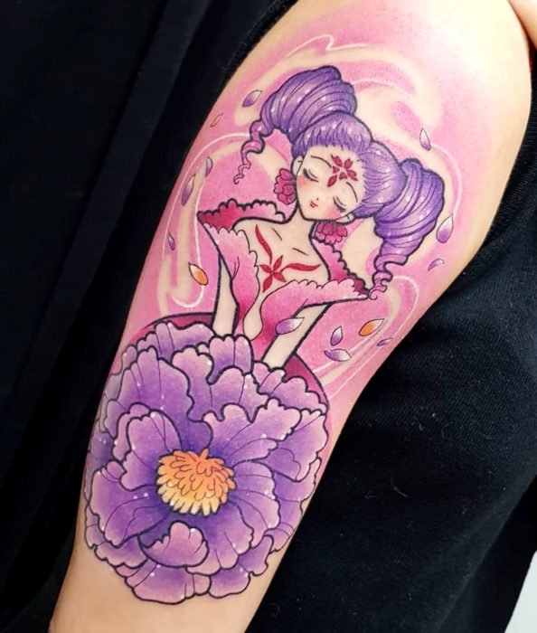 Colorful Sakura Card Captor Tattoo on Arm, Clow The Flower Card, The Flower