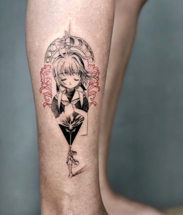 Sakura Card Captor tattoo in black line on leg