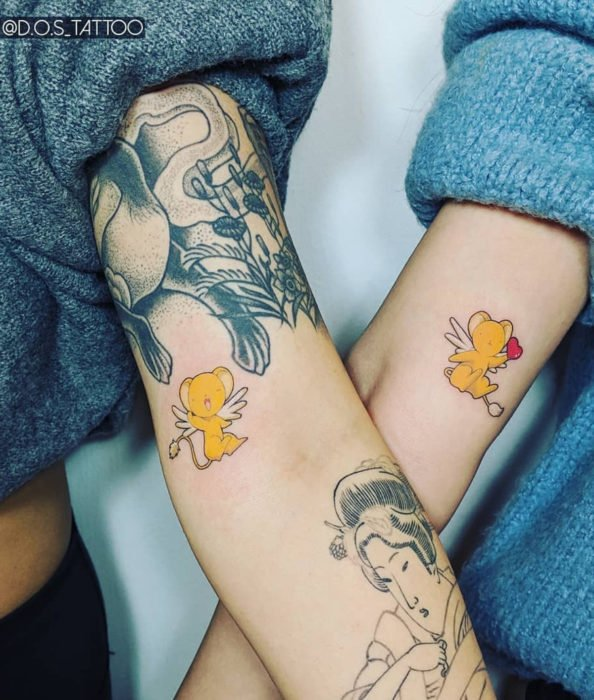 Sakura Card Captor tattoo for best friends or as a couple, small Kero on the arm