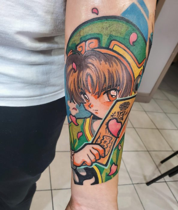 Sakura Card Captor tattoo on arm, Shaoran with seal