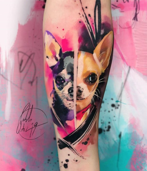 Pretty watercolor tattoo designs; Chihuahua dog tattoo on arm