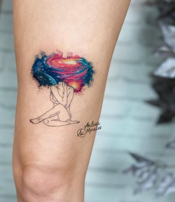 Pretty watercolor tattoo designs; Woman with universe head tattoo