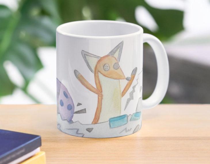 Taza inspirada en El Principito, donde se ve un dibujo del zorro