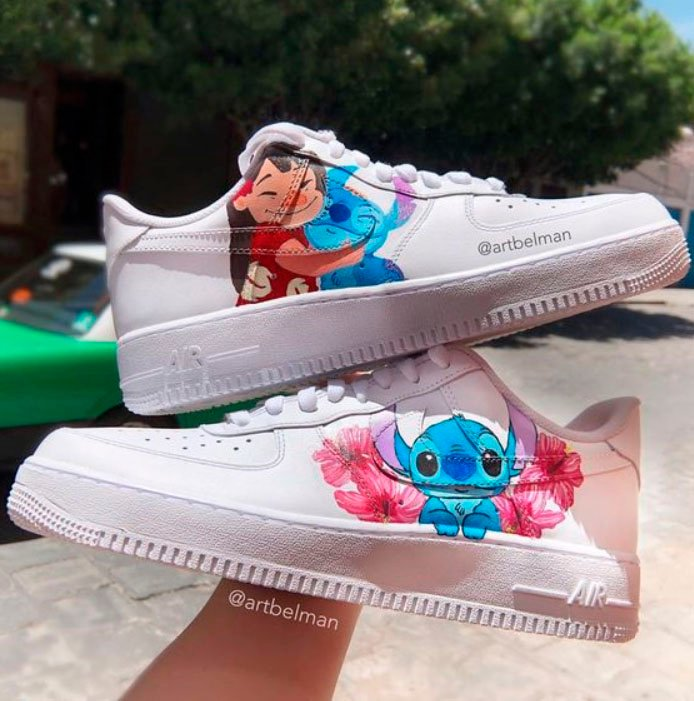 Tennis for girls, hand painted with Lilo and Stich design