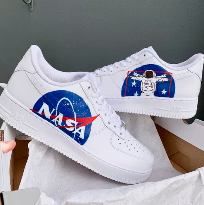 Tennis for girls, hand painted with NASA design