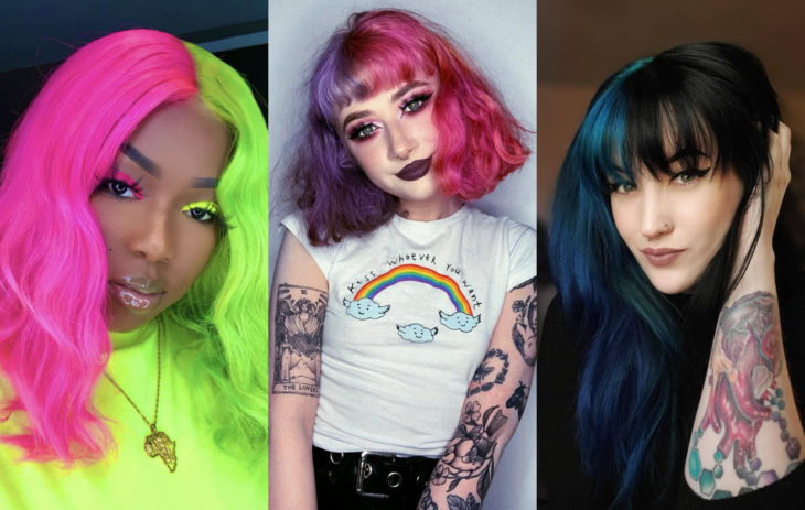 Fall 2020 trend hair dyes; half and half, fantasy color roza, neon green, purple, blue, black