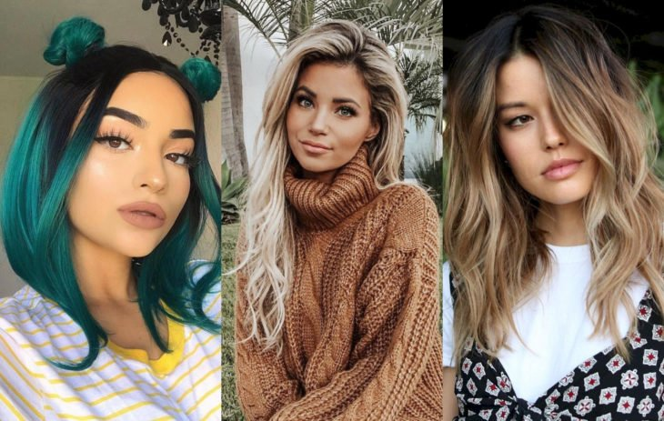 Fall 2020 trend hair dyes; roots in sight, blonde, brown and fantasy green color