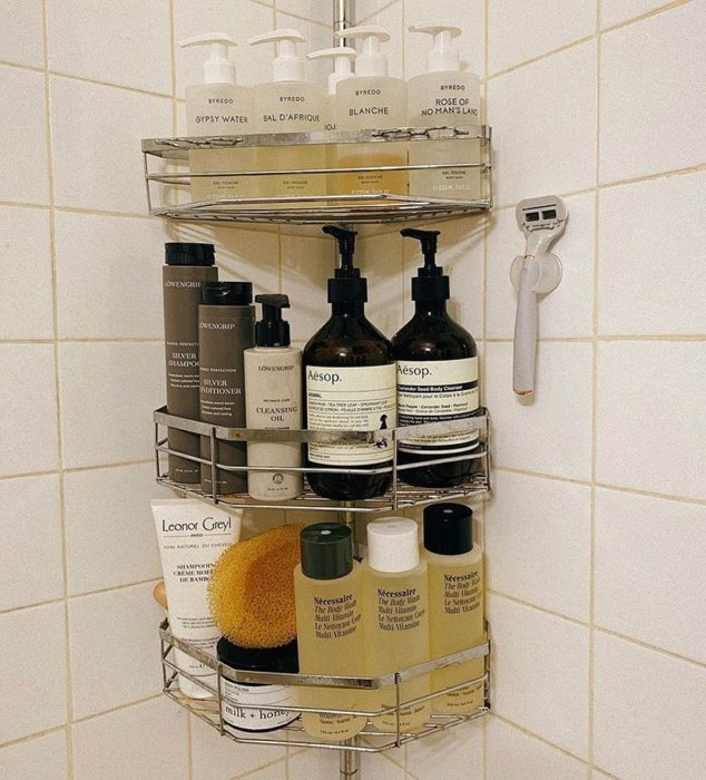 Hair products in the bathroom