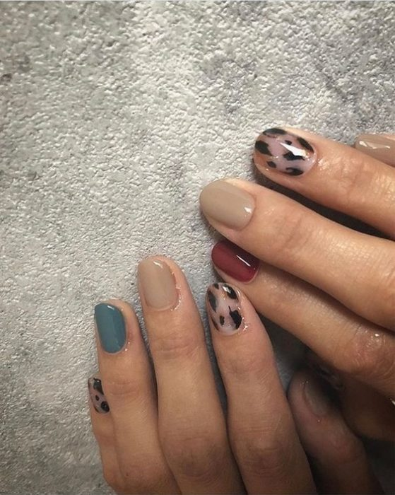 Manicure in animal print design in Nordic colors with design on several fingers