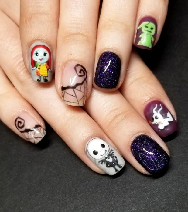 Kawaii, cute Halloween square nail designs in pastel color; The Nightmare Before Christmas, The Strange World of Jack Skellington, Sally, Oogie Boogie and Ghost Dog