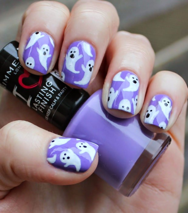 Cute, kawaii square short nail designs in purple, pastel lilac Halloween; ghosts