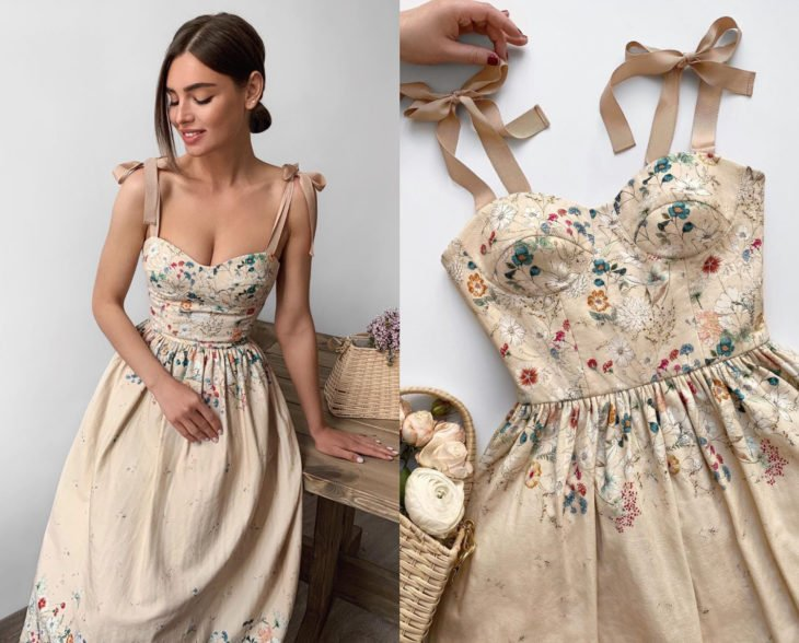 Larne Studio makes pretty corset dresses; bone color with painted flowers