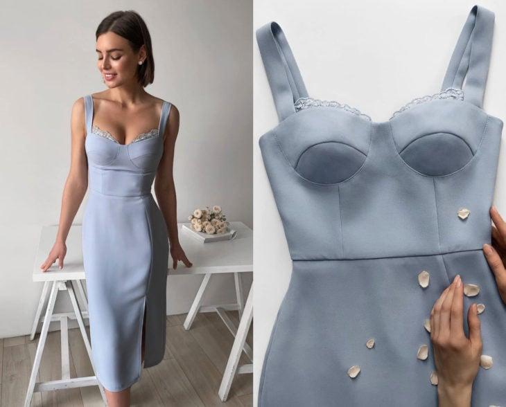 Larne Studio hace bonitos vestidos de corsé; azul cielo pegado