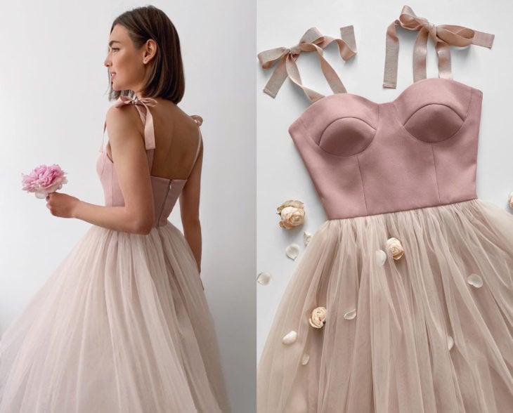Larne Studio hace bonitos vestidos de corsé; tul rosa