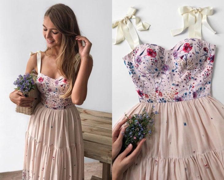 Larne Studio hace bonitos vestidos de corsé; beige, top rosa de flores pintadas