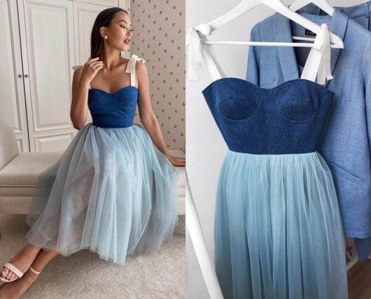 Larne Studio hace bonitos vestidos de corsé; tul azul cielo y top de mezclilla