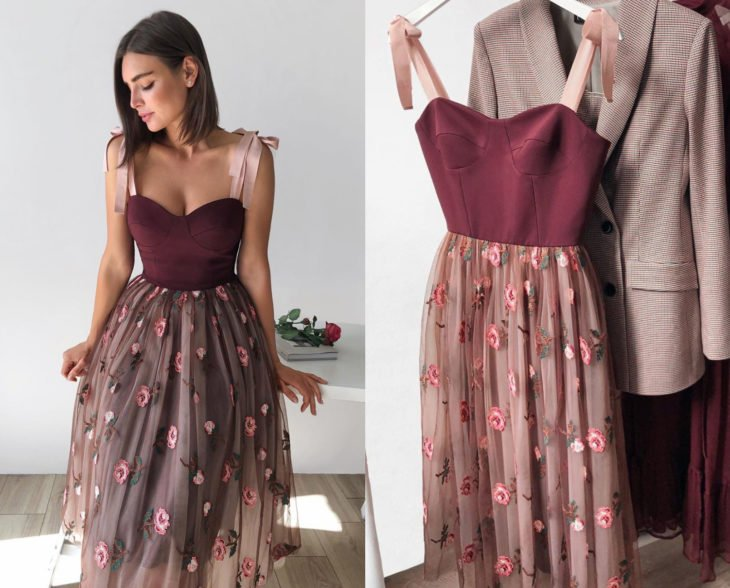 Larne Studio makes pretty corset dresses; wine red, tulle embroidered with pink flowers