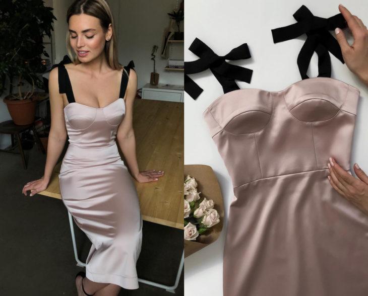 Larne Studio hace bonitos vestidos de corsé; seda rosa palo, listón negro