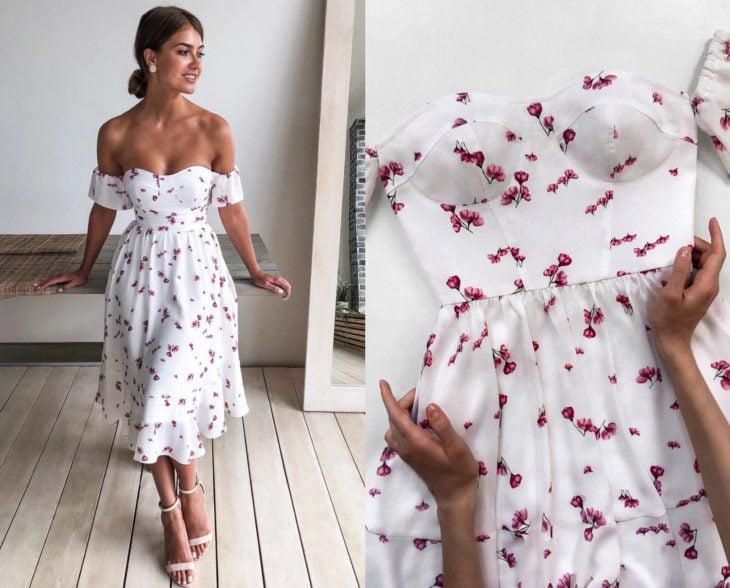 Larne Studio hace bonitos vestidos de corsé; blanco con flores rosas, campesino