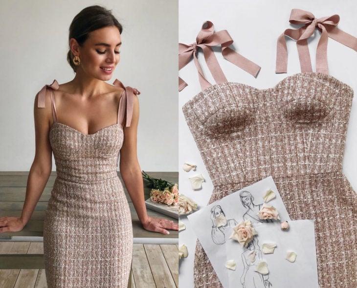Larne Studio hace bonitos vestidos de corsé; rosa palo